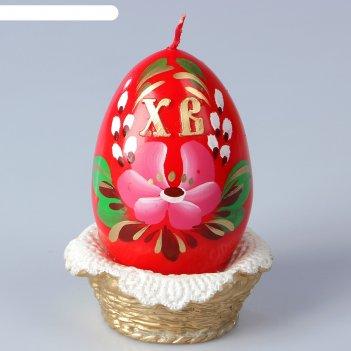 Декоративная свеча «пасхальное яйцо в лукошке»