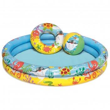 Бассейн надувной «рыбки», 3 предмета: бассейн, мяч, круг, 122 х 20 см, от