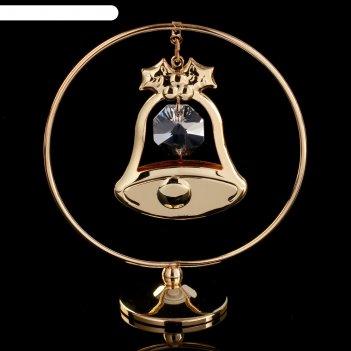 Сувенир с кристаллами сваровски колокольчик на подвеске 8х7,1 см