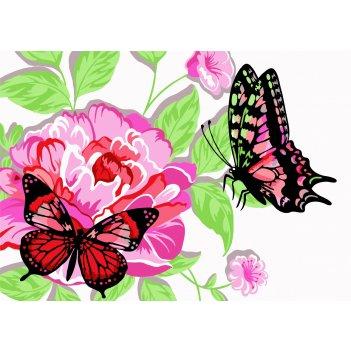 Раскраска по номерам русская живопись бабочки в пионах kh001