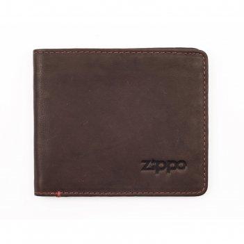 Портмоне zippo, коричневое, натуральная кожа, 11x1,5x10 см