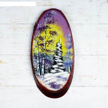 Панно на спиле зима, 32-36 см, каменная крошка, вертикальное