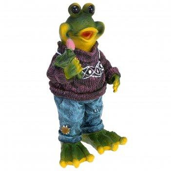 Садовая фигура лягушка в свитере 17*12*31см