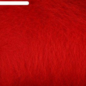 Шерсть для валяния кардочес 100% полутонкая шерсть 100гр (046 красный)