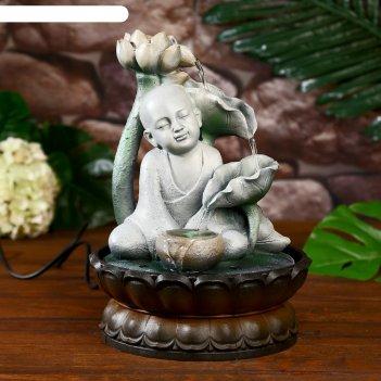 Фонтан настольный от сети, подсветка маленький будда с лотосом серый 29х20
