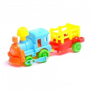 Паровоз инерционный с вагоном, цвета микс