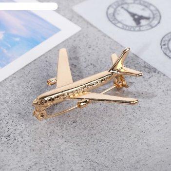 Брошь самолёт цвет золотой