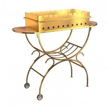 Мангал boyscout gold с 2 столиками, дровницей, на колесах