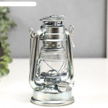 Керосиновая лампа декоративная серебристый 9,7х12,5х11,5 см