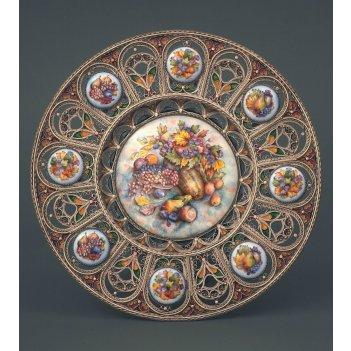 Коллекционная декоративная тарелка подарочная, финифть