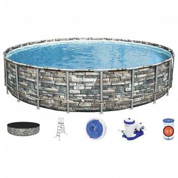 Бассейн каркасный power steel, 671 x 132 см, фильтр-насос, тент, лестница,