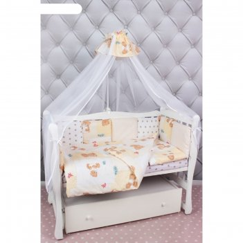 Комплект в кроватку «мишкин сон», 7 предметов, поплин, бежевый