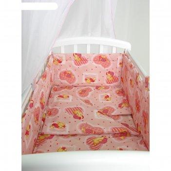 Комплект в кроватку «мишки», 6 предметов, цвет розовый