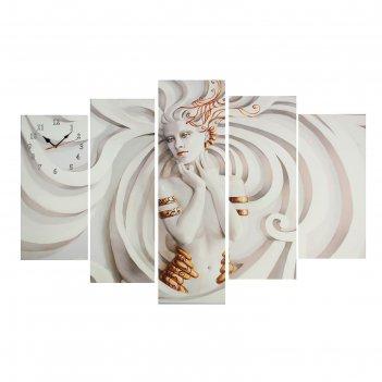Часы настенные модульные «скульптура девушки», 80 x 140 см