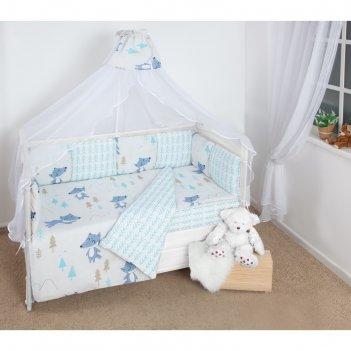 Комплект в кроватку wb, 15 предметов, бязь, цвет серый, принт в лесу