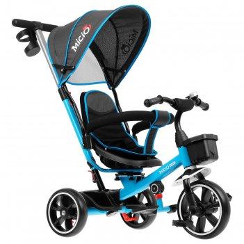 Велосипед трехколесный micio veloce, колеса eva 10/8, цвет голубой