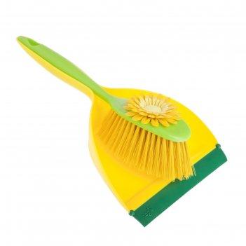 Набор для уборки совок + щетка flower power, цвет микс