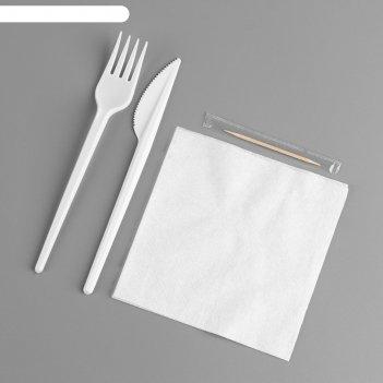 Набор одноразовой посуды «вилка, нож, салф.бум., зубочистка»