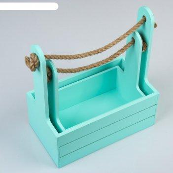 Набор кашпо деревянных 2 в 1 (25x15x30; 21x12x23 см) dear, ручка канат, мя