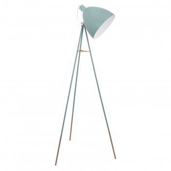 Торшер dundee на треноге, 1x60w (e27) h1355, сталь, латунь, мятный, шнур.
