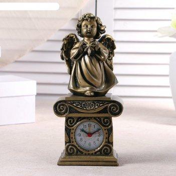 Часы настольные ангел со звездочкой, цвет золото, h=25.5 см