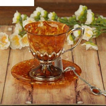 Чашка чайная из бронзы и янтаря императрица, 200 мл, с ложечкой 13 см