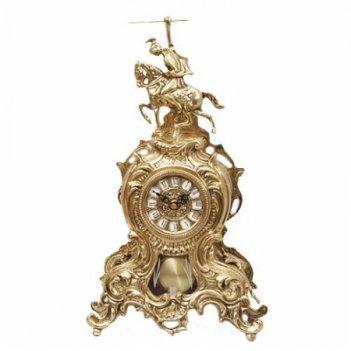 5730  часы бронзовые всадник с маятником зол.41х25см