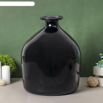 Ваза бутылочная декоративная черный глянец 24х35см глянцевая