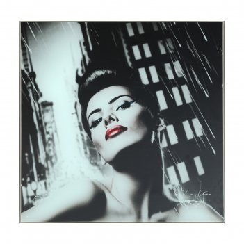 Картина дама с красными губами