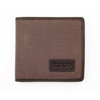 Портмоне zippo, коричневое, натуральная кожа / холщовая ткань, 11x1,5x10,5