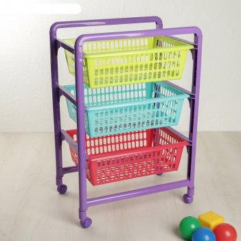 Этажерка для игрушек радуга на колесах, с выдвигающимися лотками