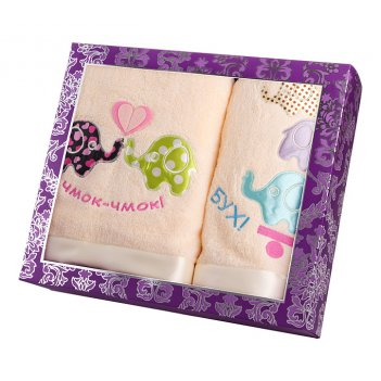Комплект полотенец слоники 70*140,40*70,м/х шамп...