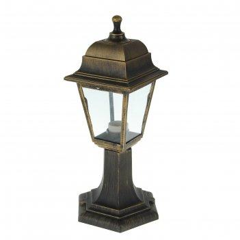 Светильник садово-парковый tdm, e27, 60 вт, четырёхгранник, стойка, бронза
