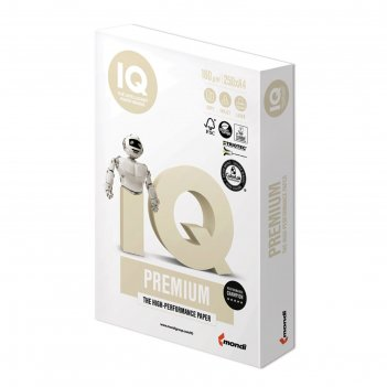 Бумага а4, 250 листов iq premium, 160г/м2, класс «а+», белизна 169%