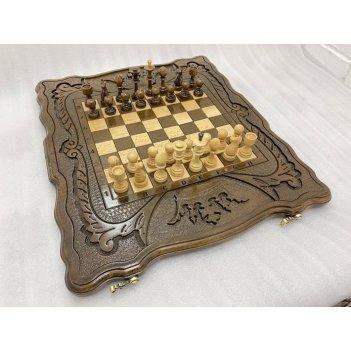 Шахматы + нарды резные корона 40, harutyunyan