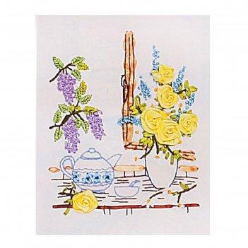 Набор для вышивания лентами ваза на подоконнике размер основы 30*30 см
