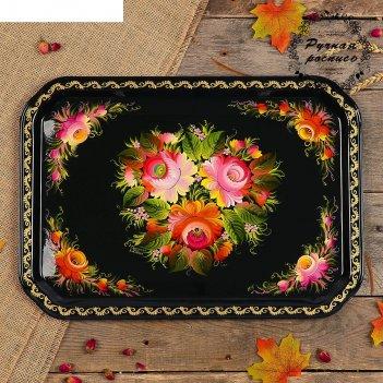 Поднос «цветы», чёрный фон, 45х32 см, ручная роспись