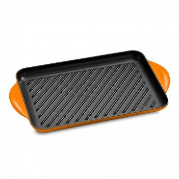 Сковорода - гриль, размер: 38,5 х 21,8 см, материал: чугун, цвет: оранжевы