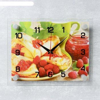 Часы настенные, серия: кухня, блинчики с вареньем, 20х26 см микс