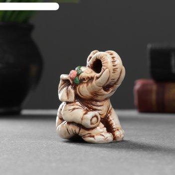 Фигура слон с розой 6,5х4,5х4 см 1414596