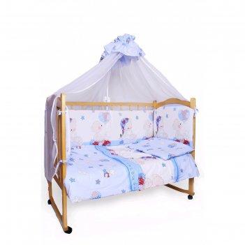 Комплект в кроватку «мишкин сон», 7 предметов, поплин, голубой