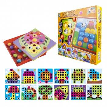 1toy игродром мозаика для малышей кнопик, 46 кнопок,12 трафаретов