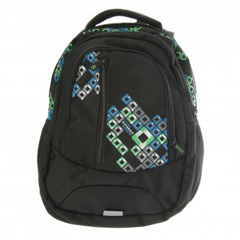 Рюкзак молодежный эргоном.спинка stavia ромбы 41*27*17 черный/зеленый/сини