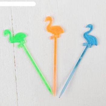 Шпажки для канапе фламинго, цвета микс (набор 12 шт.)