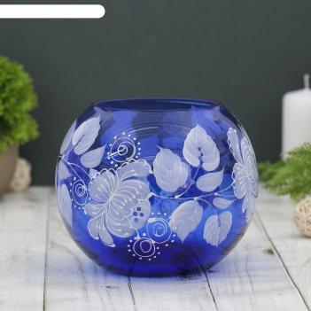 Ваза-шар мак, синяя, ручная роспись