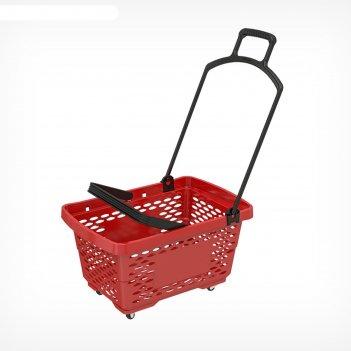 Корзина-тележка пластиковая 28л, с 2 пластиковыми ручками, цвет красный