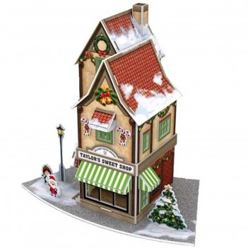 3d пазл «рождественский коттедж №1», с подсветкой, 52 детали