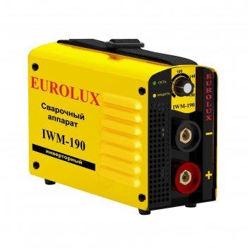 Сварочный аппарат инверторный eurolux iwm190, 220 в, 10-190 а, ip21, дуга