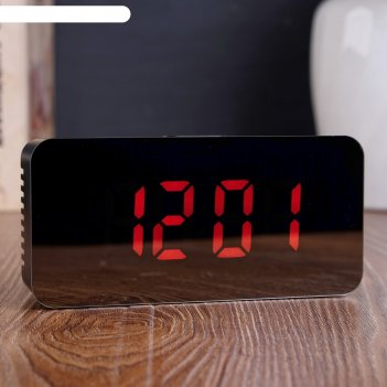 Часы-будильник электронные с календарём и термометром, цифры красные, 15x7