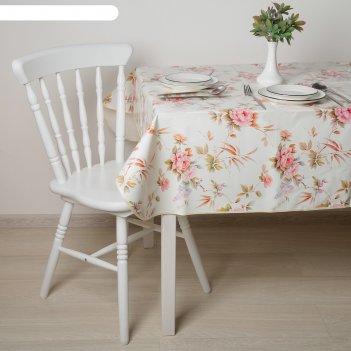 Скатерть с бейкой 135х180(+/-5) см стиль. розы, цвет бежевый